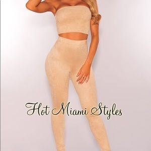 NUDE FAUX SEUDE TWO PIECE SET [HOT MIAMI STYLES]